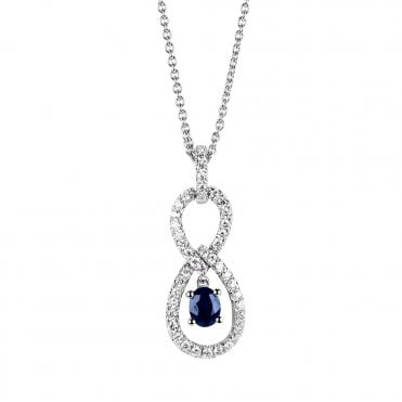 Berry's 18ct White Gold Sapphire And Diamond Necklace