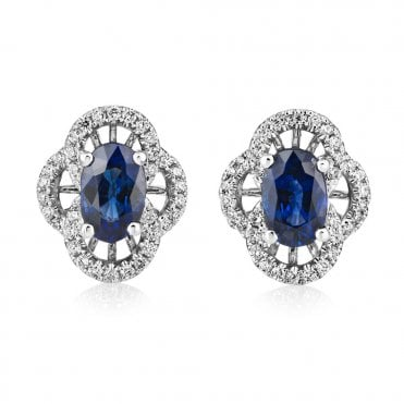 18ct White Gold Sapphire And Diamond Vintage Style Earrings