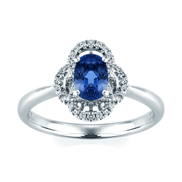 18ct White Gold Sapphire And Diamond Vintage Style Ring