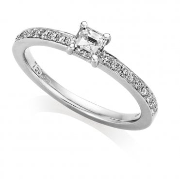 18ct White Gold Single Stone Asscher Cut Diamond Engagement Ring