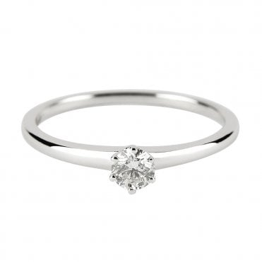 18ct White Gold Solitaire Diamond Ring From The Petite Range