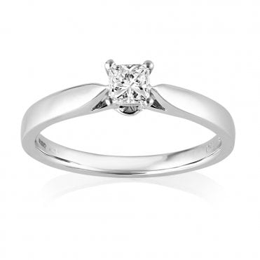 18ct White Gold Solitaire Princess Cut Diamond Ring