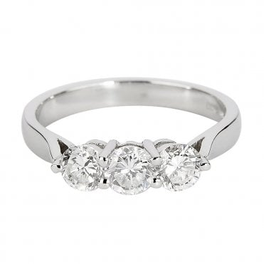 18ct White Gold Three Stone Brilliant Cut Diamond Engagement Ring