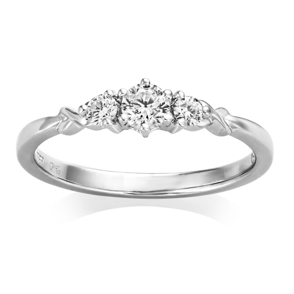 diamond round platinum modern in nottingham brilliant and codd engagement jewellers trilogy ring products rings g carolyn bespoke fine certified gia
