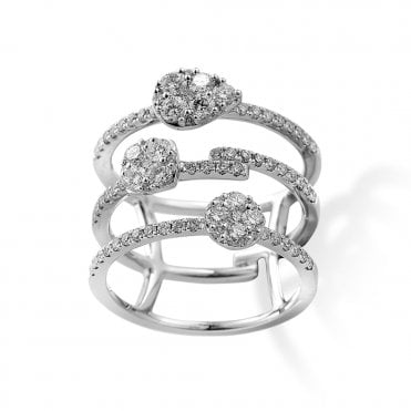 18ct White Gold Triple Row Diamond Dress Ring