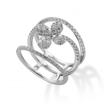 18ct White Gold Triple Row Diamond flower Design Ring