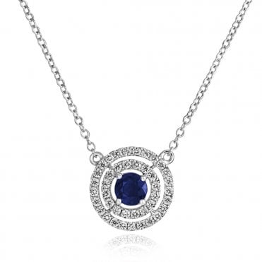 18ct White Gold Two Circular Row Diamond & Sapphire Pendant
