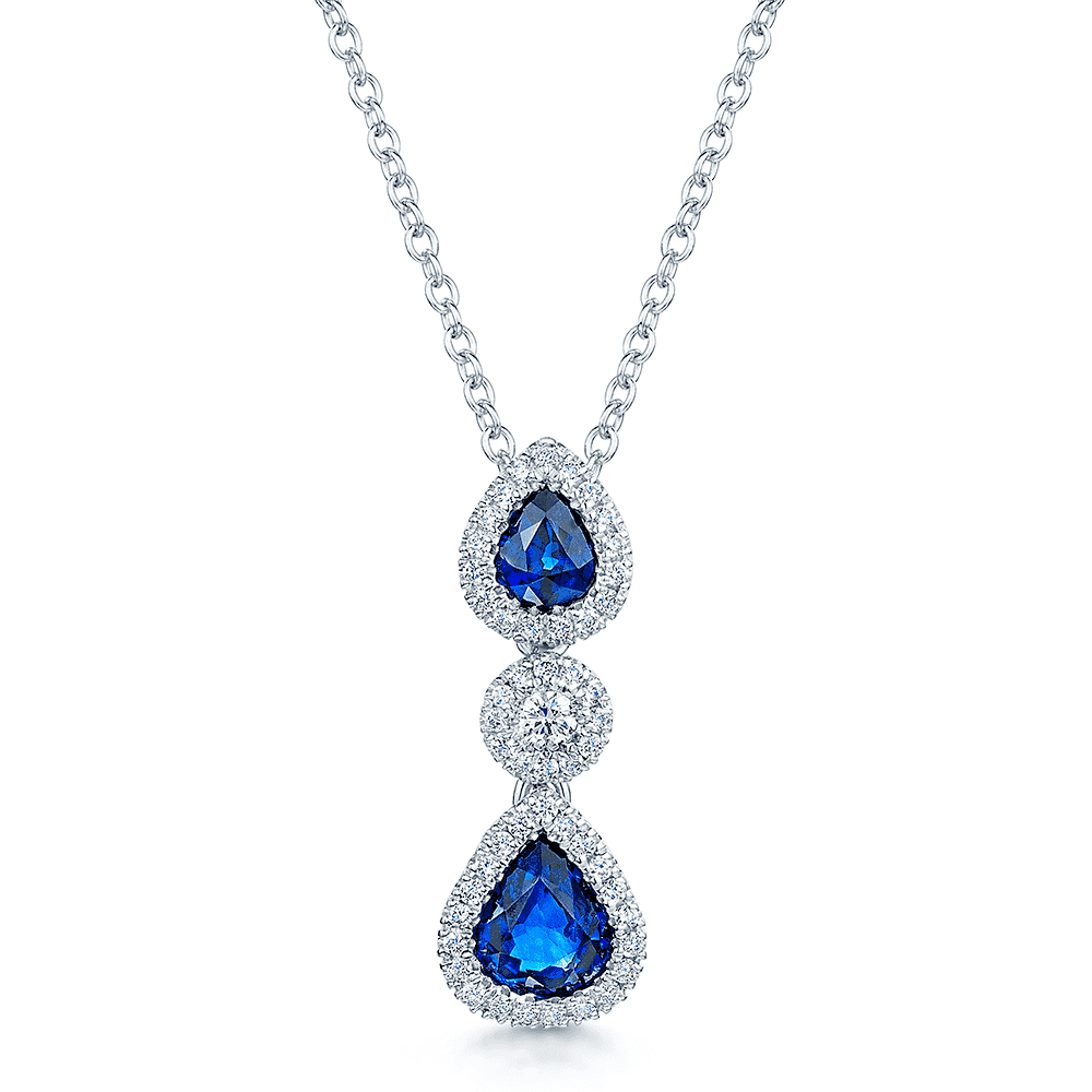 ad95dad4e 18ct White Gold Two Pear Shape Sapphires & Diamond Pendant