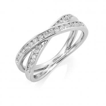 18ct white Gold Two Row Cross Over Diamond Ring