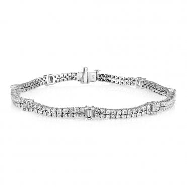 18ct White Gold Two-Row Diamond Set Line Bracelet