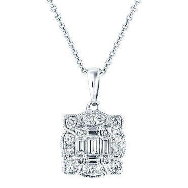 18ct White Gold Vintage Design Diamond Necklace