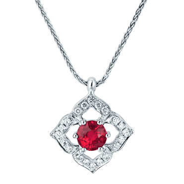 18ct White Gold vintage Style Ruby & Diamond Necklace