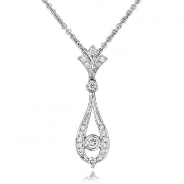 18ct White Gold Vintage Style Tear Drop Diamond Pendant