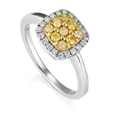 18ct White Gold Yellow And White Diamond Cushion Shape Cluster Ring