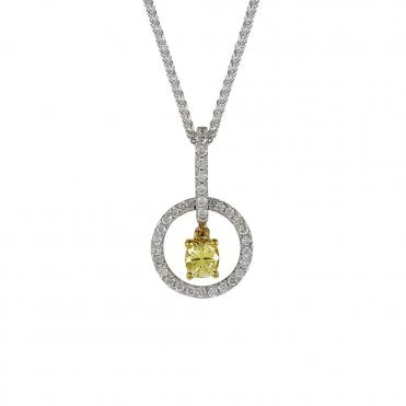 Berry's 18ct White Gold Yellow Diamond Necklace
