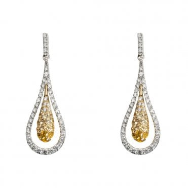 18ct White Gold Yellow Sapphire & Brilliant Cut Diamond Drop Earrings