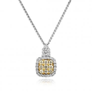 Berry's 18ct White & Yellow Diamond Cushion Shape Drop Necklace