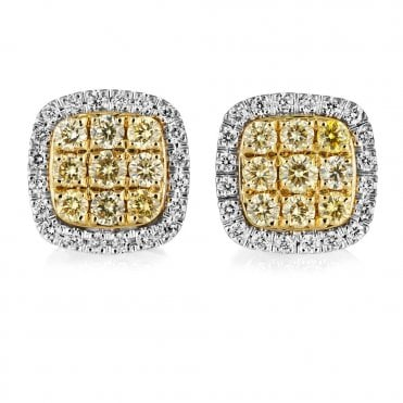 18ct White & Yellow Gold Cushion Shape Diamond Cluster Earrings