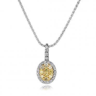 18ct Yellow And White Diamond Oval Necklace
