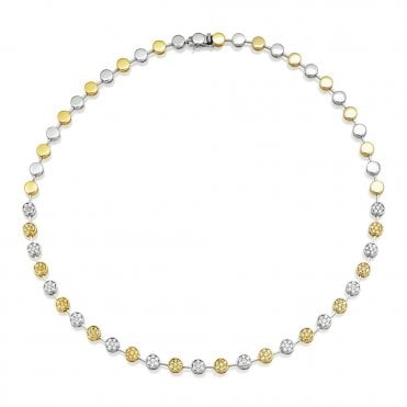 18ct Yellow And White Gold Necklet Set With Yellow & White Diamonds