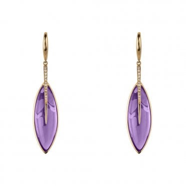 18ct Yellow Gold Amethyst & Brilliant Cut Diamond Drop Earrings