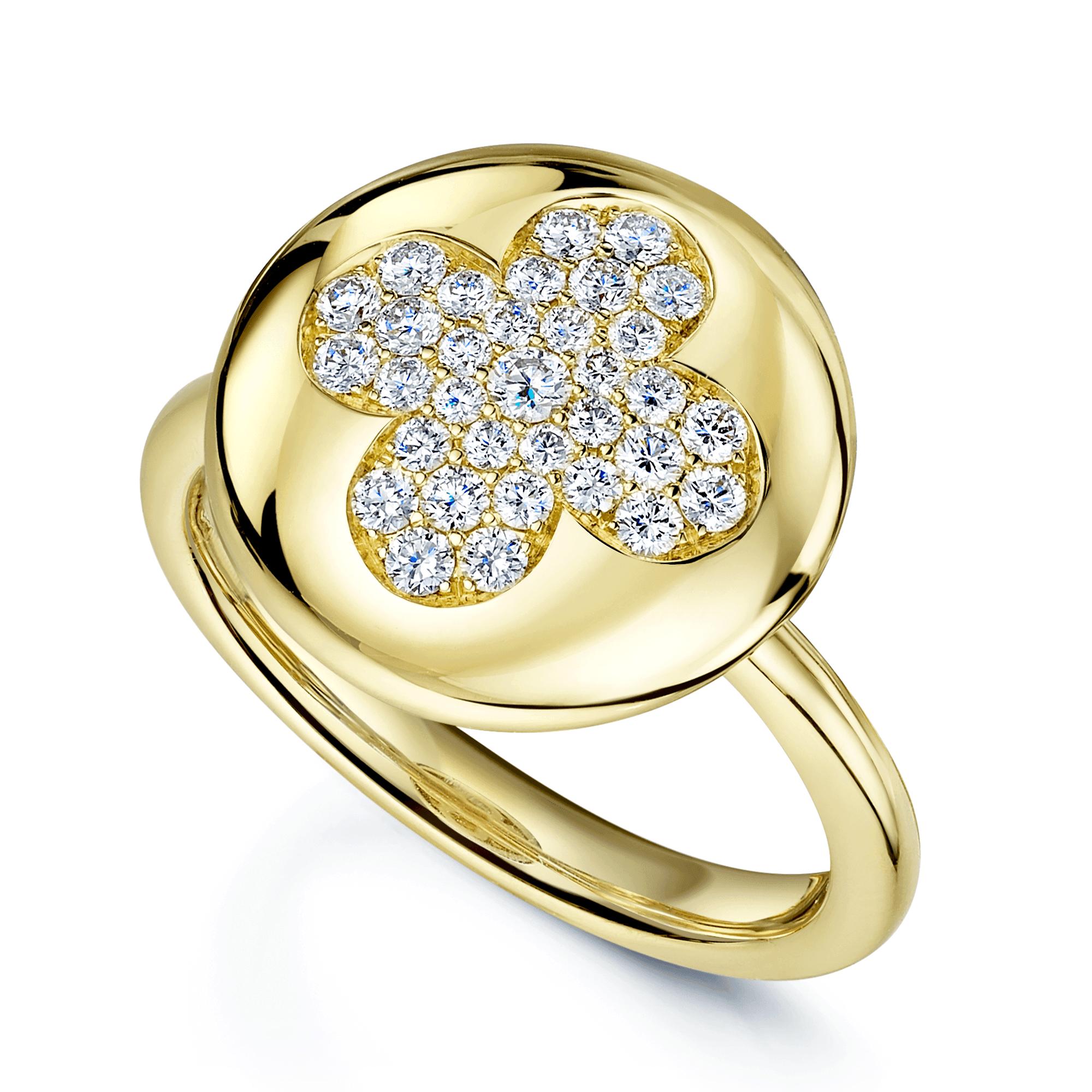 18ct Yellow Gold Circle Pave Flower Diamond Ring