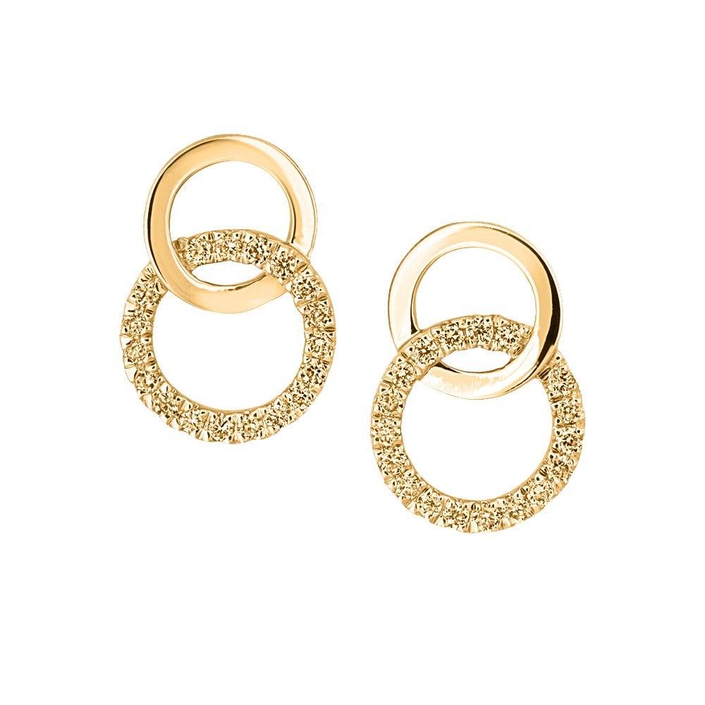 Berry S 18ct Yellow Gold Diamond Set Double Circle Stud Earrings
