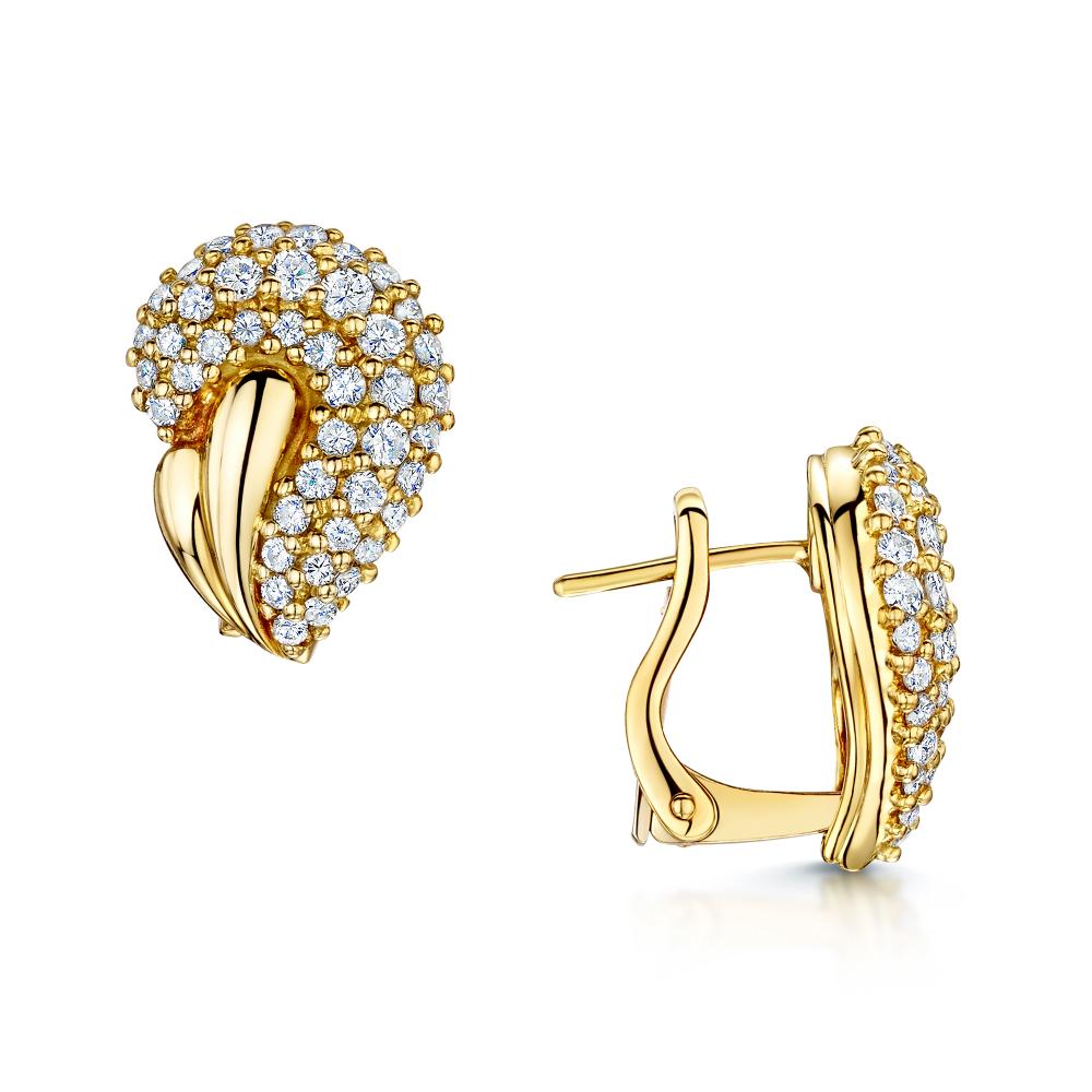 18ct Yellow Gold Diamond Set Paisley Style Stud Earrings