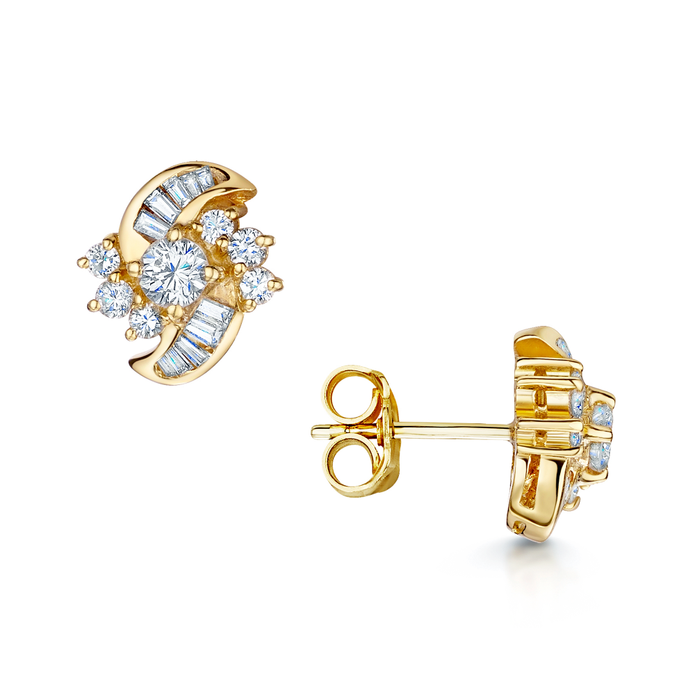 stud earrings halo yellow gold set fusion diamond jacket