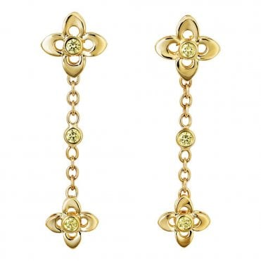 18ct Yellow Gold Drop Earrings Set With Yellow Diamonds