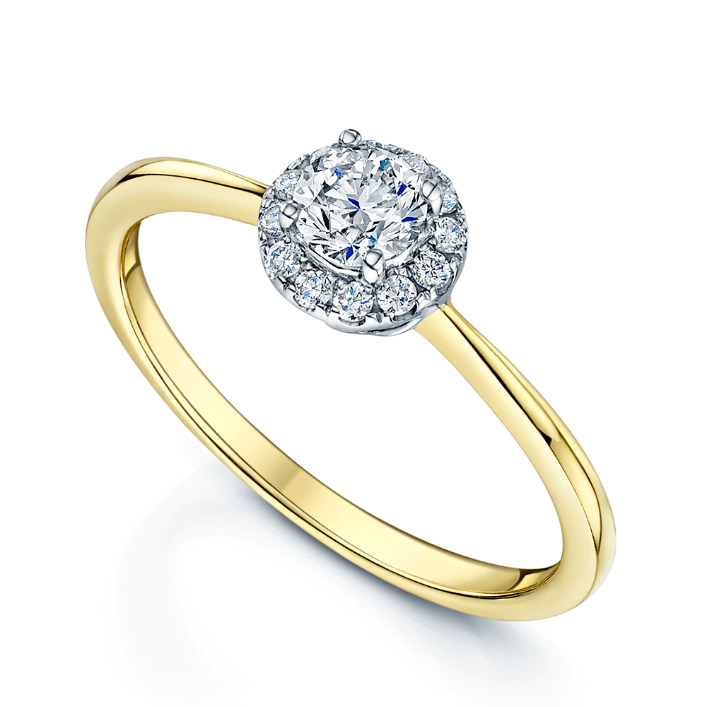 401131f41c8 18ct Yellow Gold Halo Diamond Engagement Ring From Berry s Jewellers