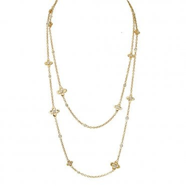 18ct Yellow Gold Necklace Set With Yellow Diamonds