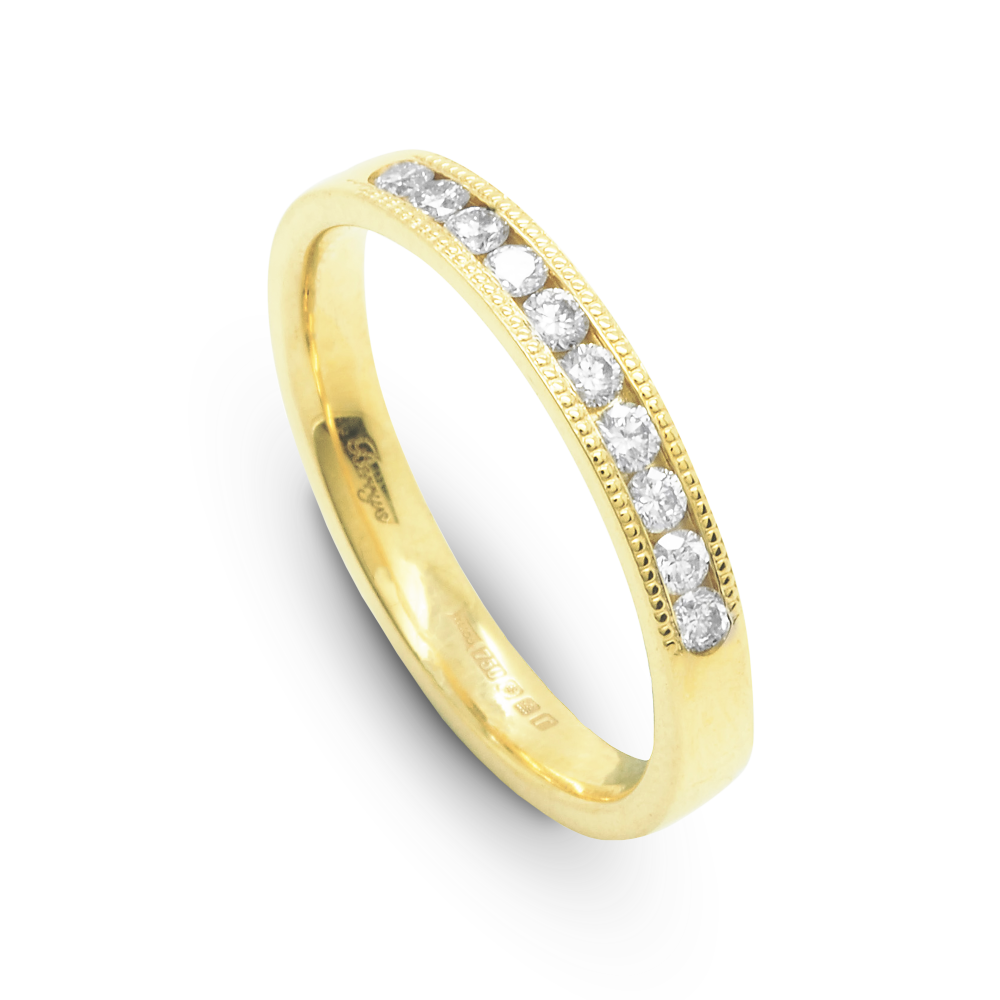 2e5f0d31fc88e0 18ct Yellow Gold Round Brilliant Cut Channel Set Half Eternity Ring 0.25ct