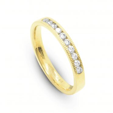 18ct Yellow Gold Round Brilliant Cut Channel Set Half Eternity Ring 0.25ct