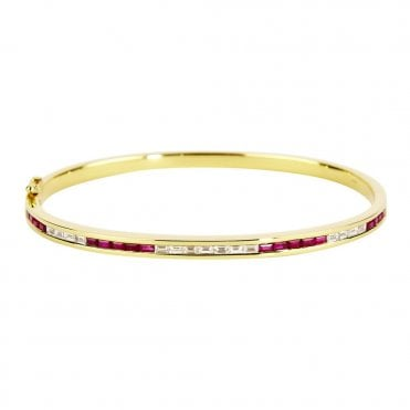18ct Yellow Gold Ruby and Diamond Channel Set Bangle