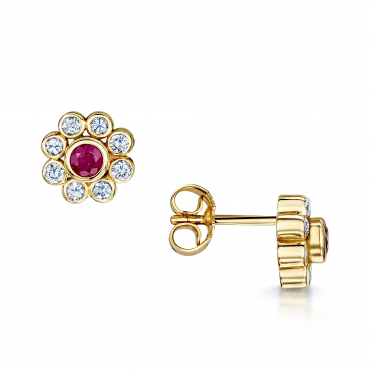 18ct Yellow Gold Ruby & Diamond Cluster Stud Earrings