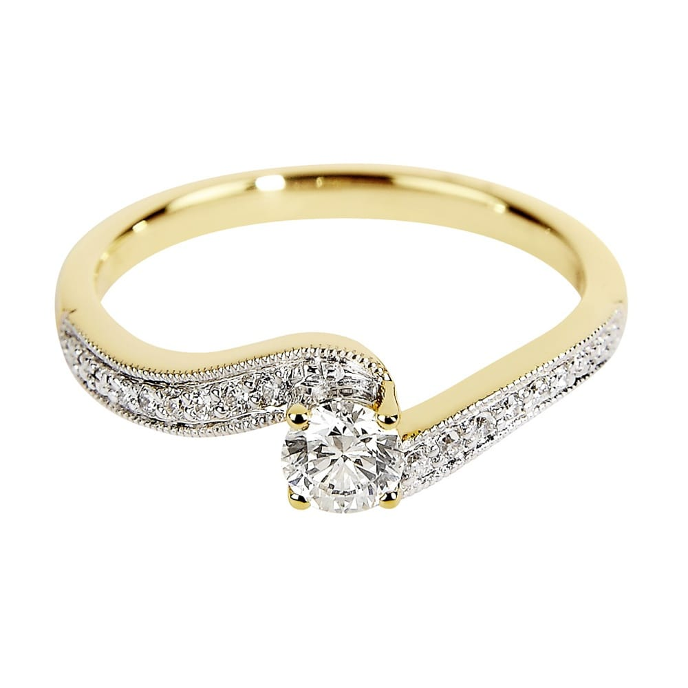 berry s 18ct yellow gold swirl design diamond set engagement ring