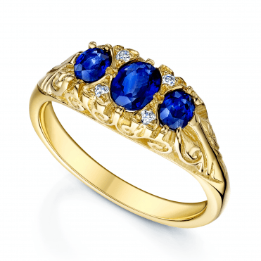 18ct Yellow Gold Victorian Style Sapphire & Diamond Ring