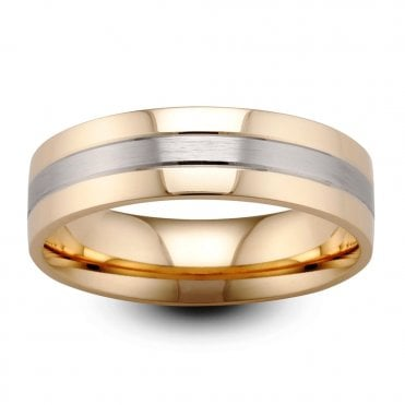 18ct Yellow & White Gold 6mm Polished & Satin Finish Wedding Ring