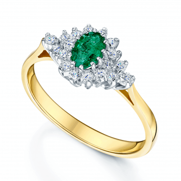 Emerald jewellery collection from berrys jewellers 18ct yellow white gold oval emerald diamond boat shape cluster ring aloadofball Image collections