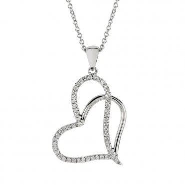 Berry's Everyday Classics 18ct White Gold Double Heart Diamond Necklace