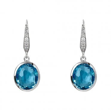 Gemstone Boutique 18ct White Gold Blue Topaz And Diamond Earrings
