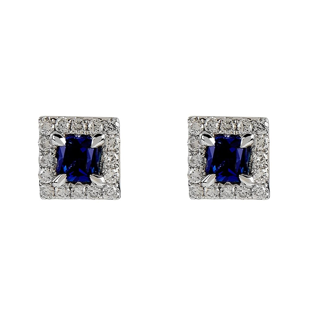 white gold square sapphire amp diamond stud earrings from