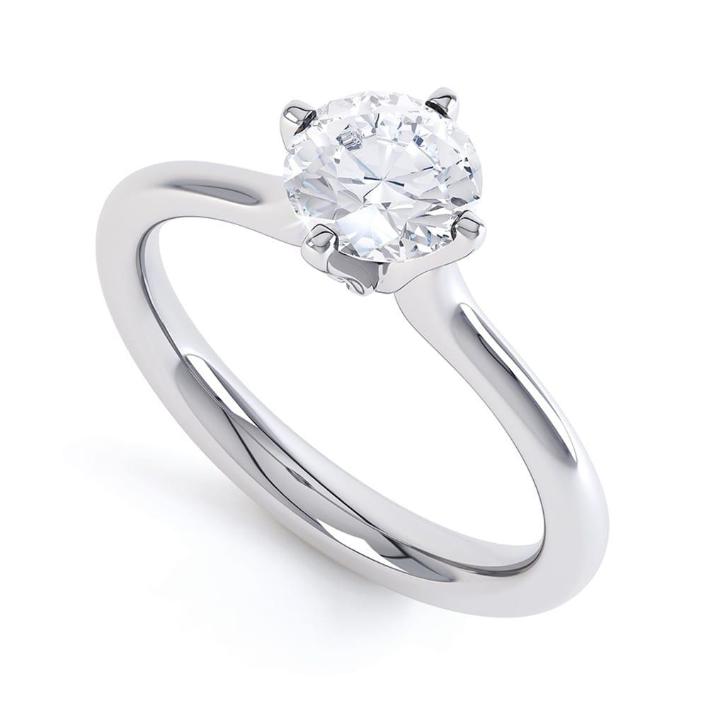 Gia Certified Brilliant Cut Diamond Engagement Ring Set In Platinum