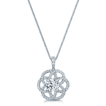 GIA Certified 18ct White Gold Entwined Circular Design Diamond Set Pendant