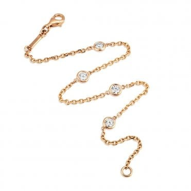 Berry's Lucia 18ct Rose Gold Fine Chain Link Diamond Bracelet