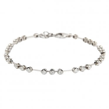 Berry's Lucia 18ct White Gold Diamond And Bar Link Bracelet