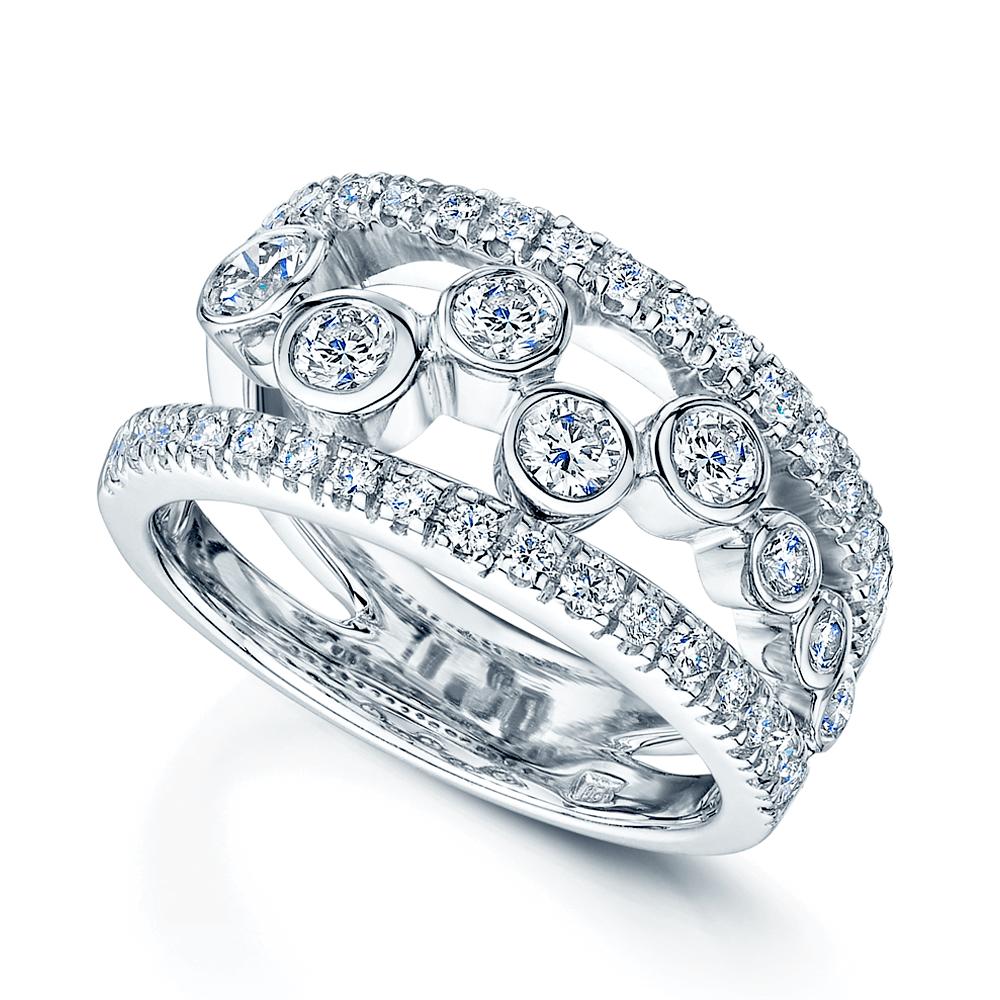 White Wedding Dress Gold Jewelry: Lucia 18ct White Gold Diamond Bubble Dress Ring