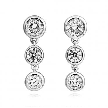 Lucia 18ct White Gold Rub Over 3 Stone Diamond Drop Earrings