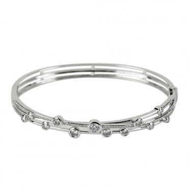 Berry's Lucia 18ct White Gold Three Row Bangle With Pave And Scattered Diamonds